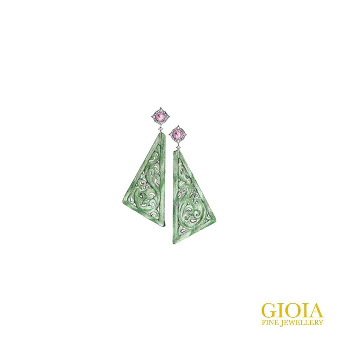 Spinel set with green jadeite Earring