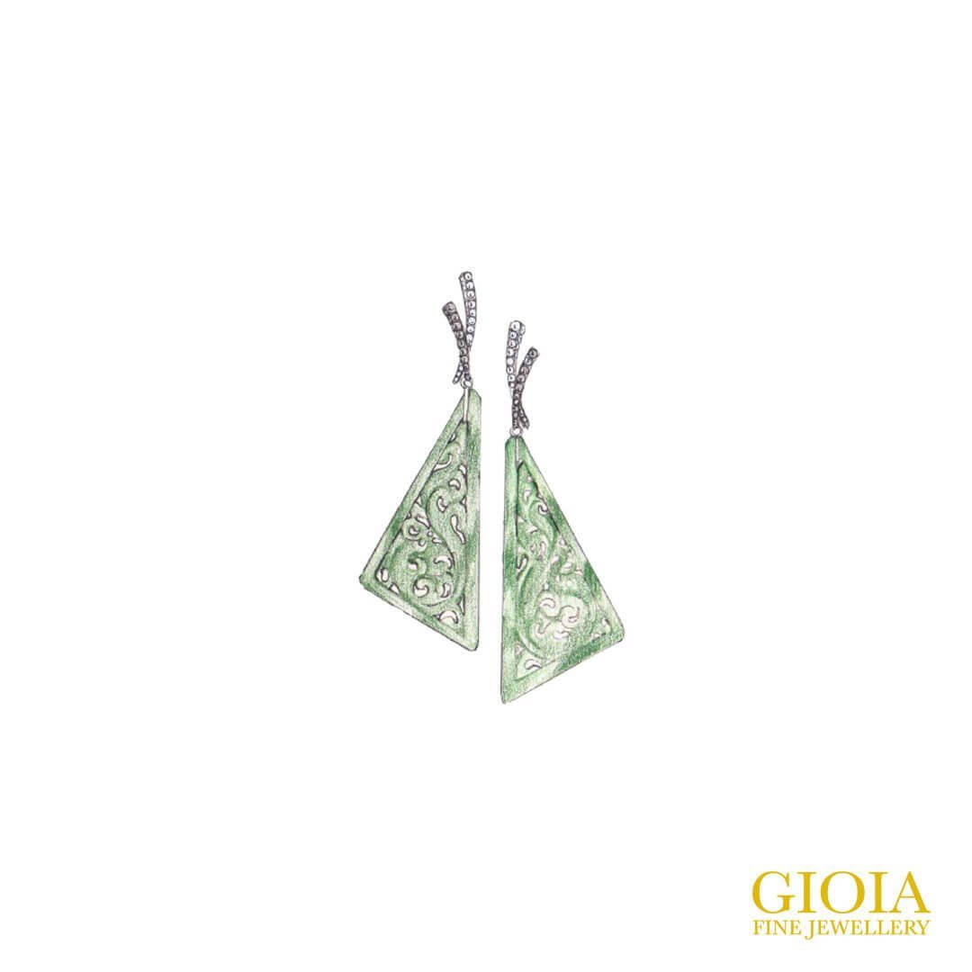 Prave Diamond setting with Jadeite Earring