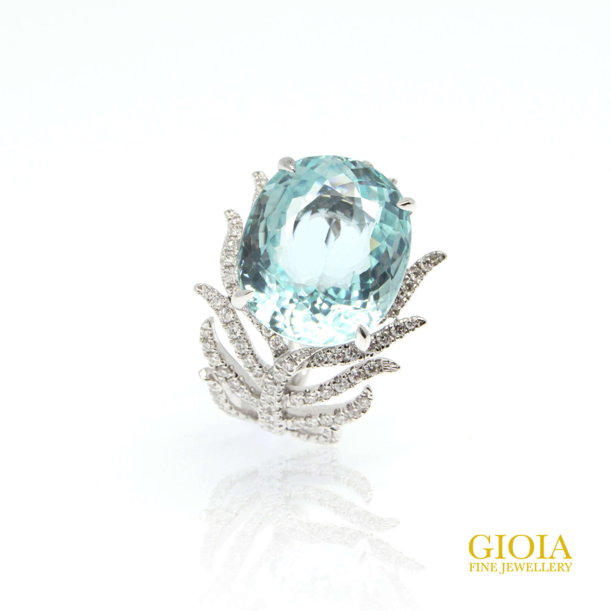 Paraiba Feather Ring