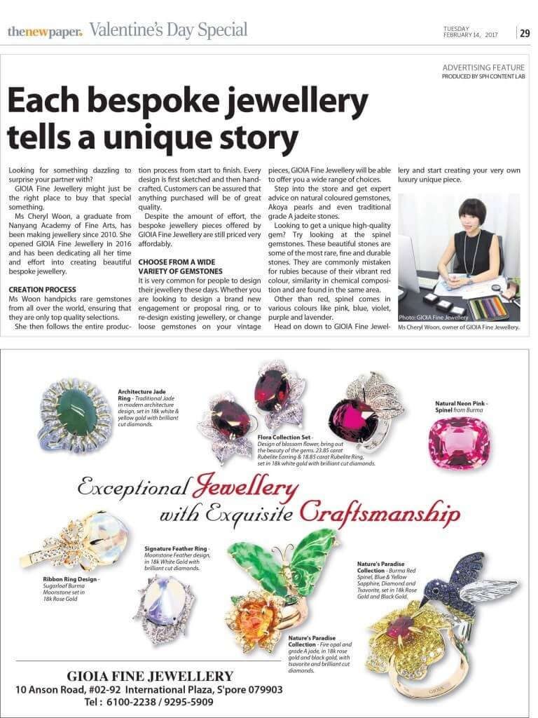 Highlights - Customised jewellery bespoke diamond gemstone jadeite in The New Paper Customised Jewellery Boutique shop in Singapore