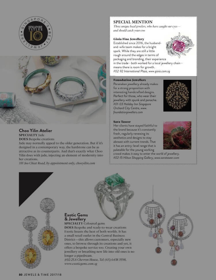 Tatler Top 10 Local Singapore Jeweler | Customised fine Jewellery - GIOIA Fine Jewellery