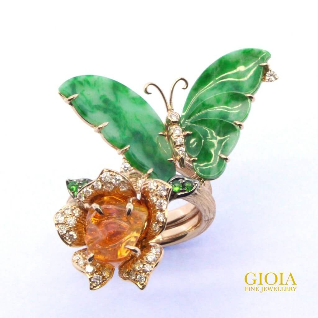 customised jade jewellery with fire opal