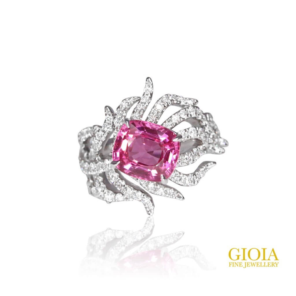 Bespoke and customised Spinel Engagement ring with diamond setting. Custom made unique Gemstone, Pendant, Necklace & Earring Jewellery. GIOIA Fine Jewellery