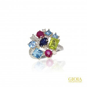 Customised Sapphire Ruby and diamond Cluster Ring