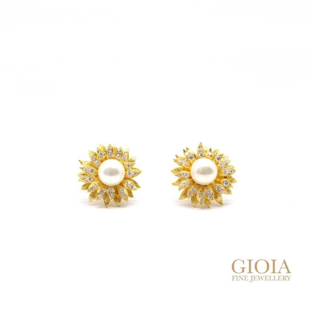 Custom made Pearl Sunflower Earring