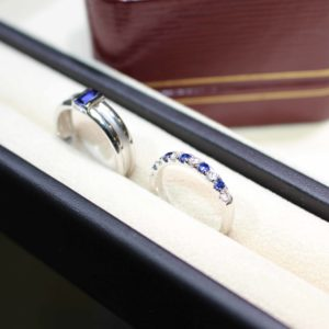 Customised wedding bands with blue sapphire gemstones