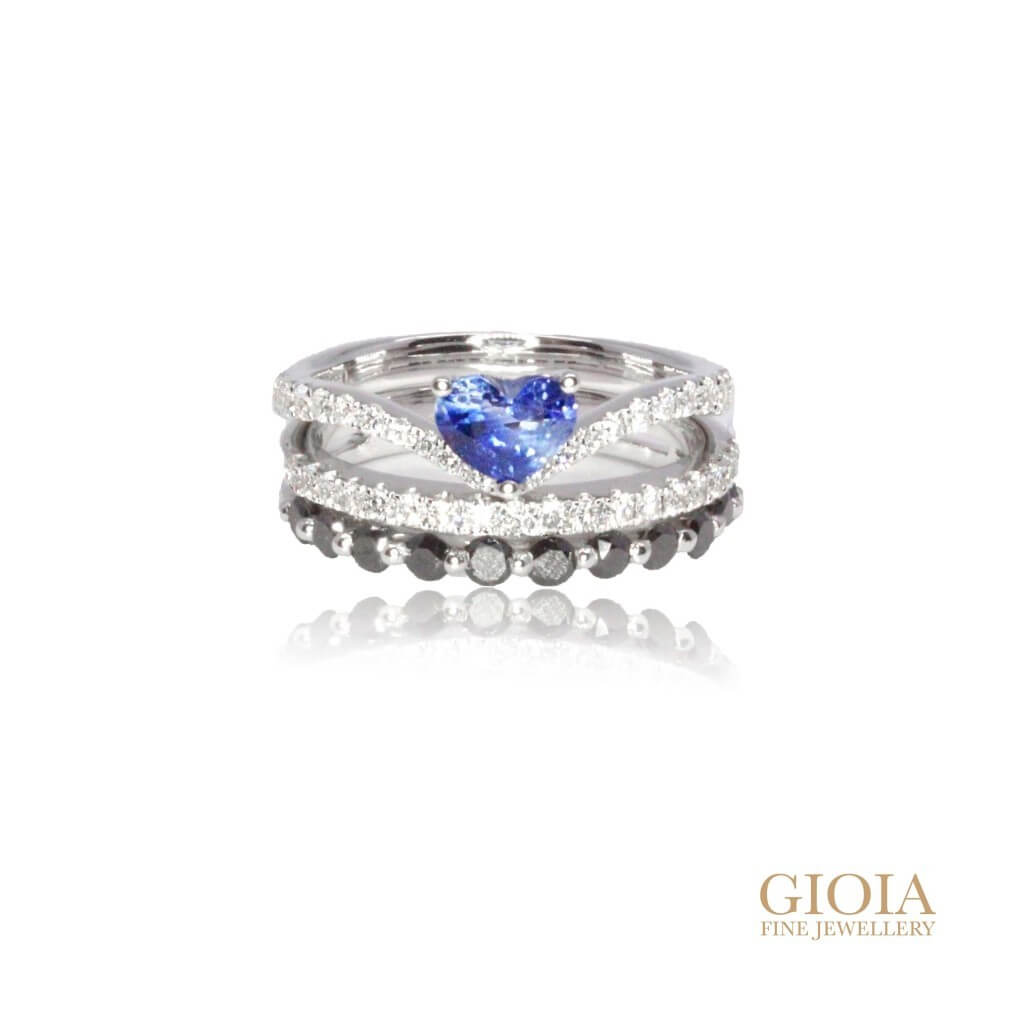 Customised stackable sapphire and diamond ring