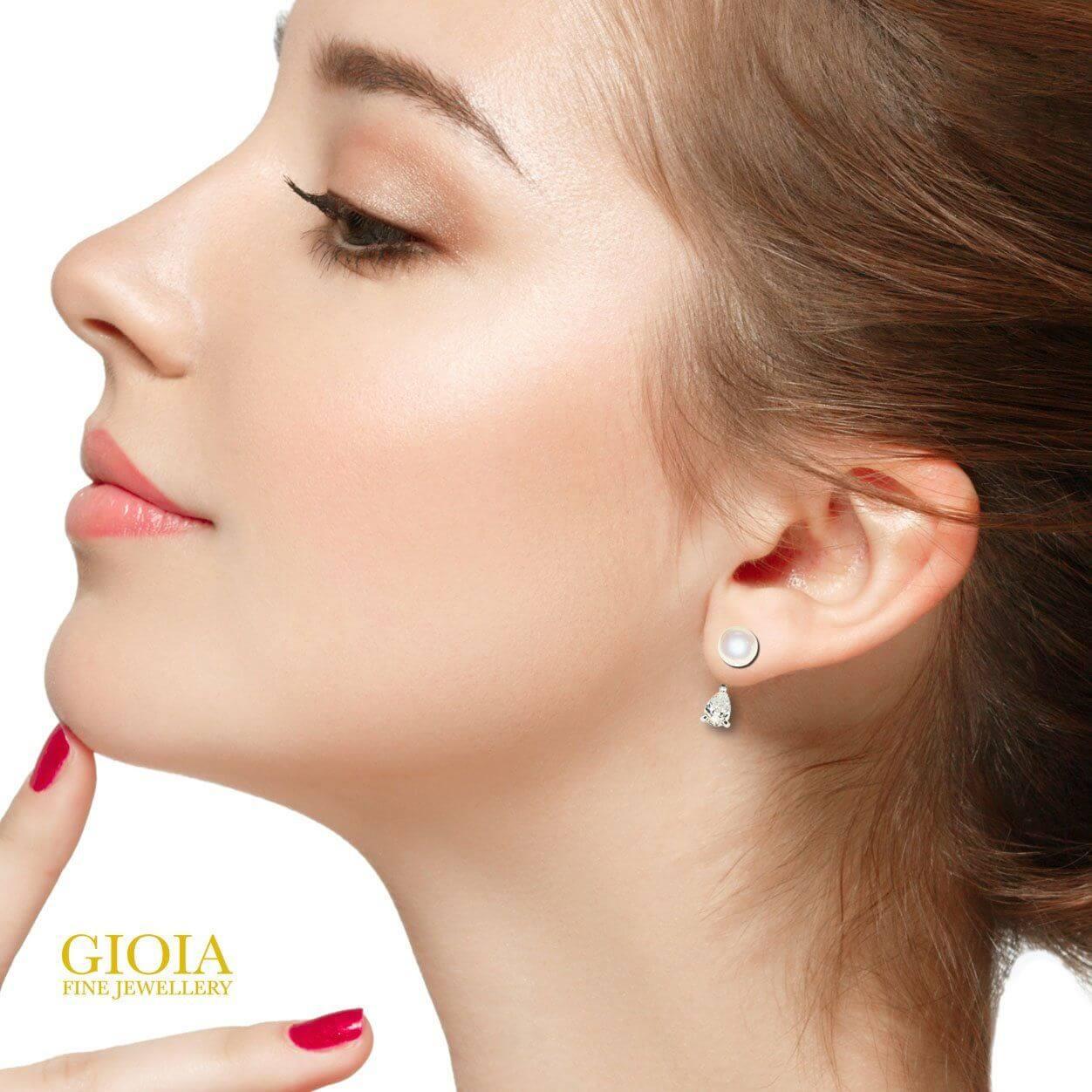 custom made diamond and pearl earring