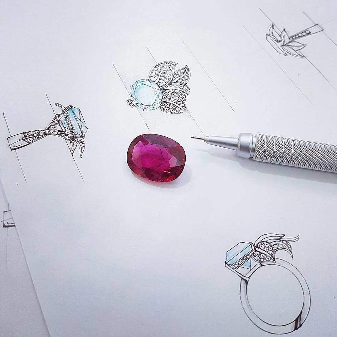 Customised Rubelite Tourmaline Flora Ring