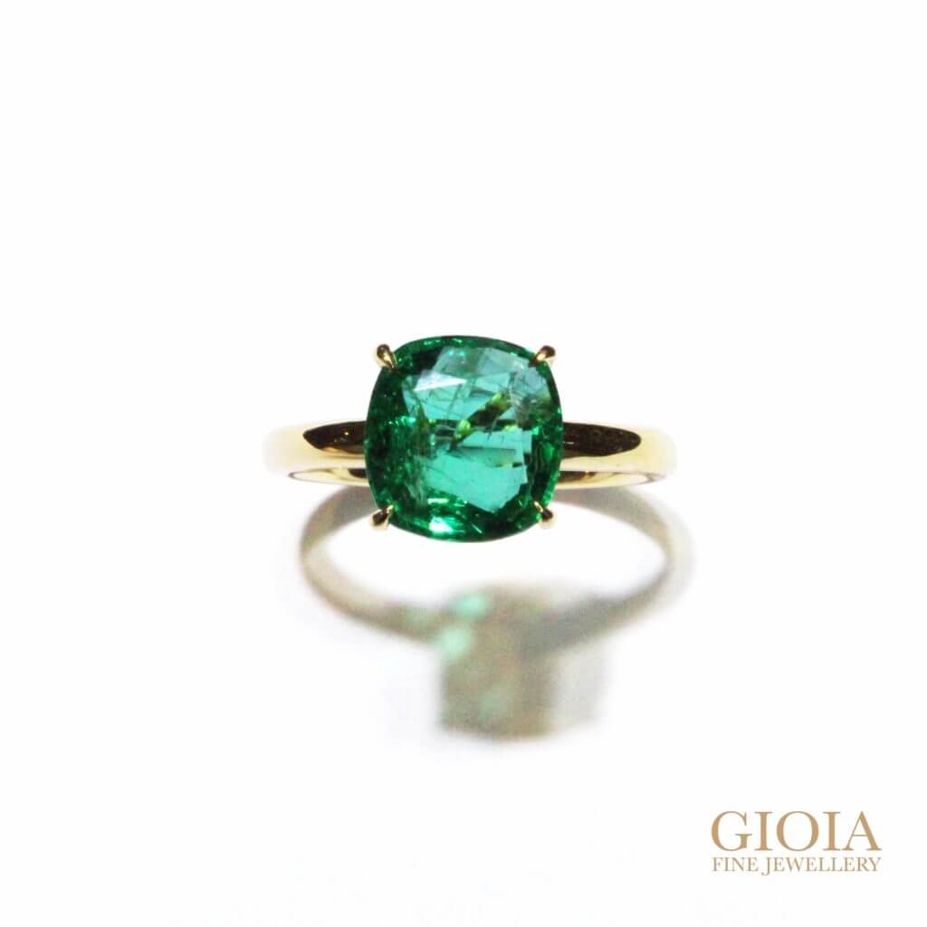 Emerald Engagement Ring, Customised engagement ring with coloured gemstone