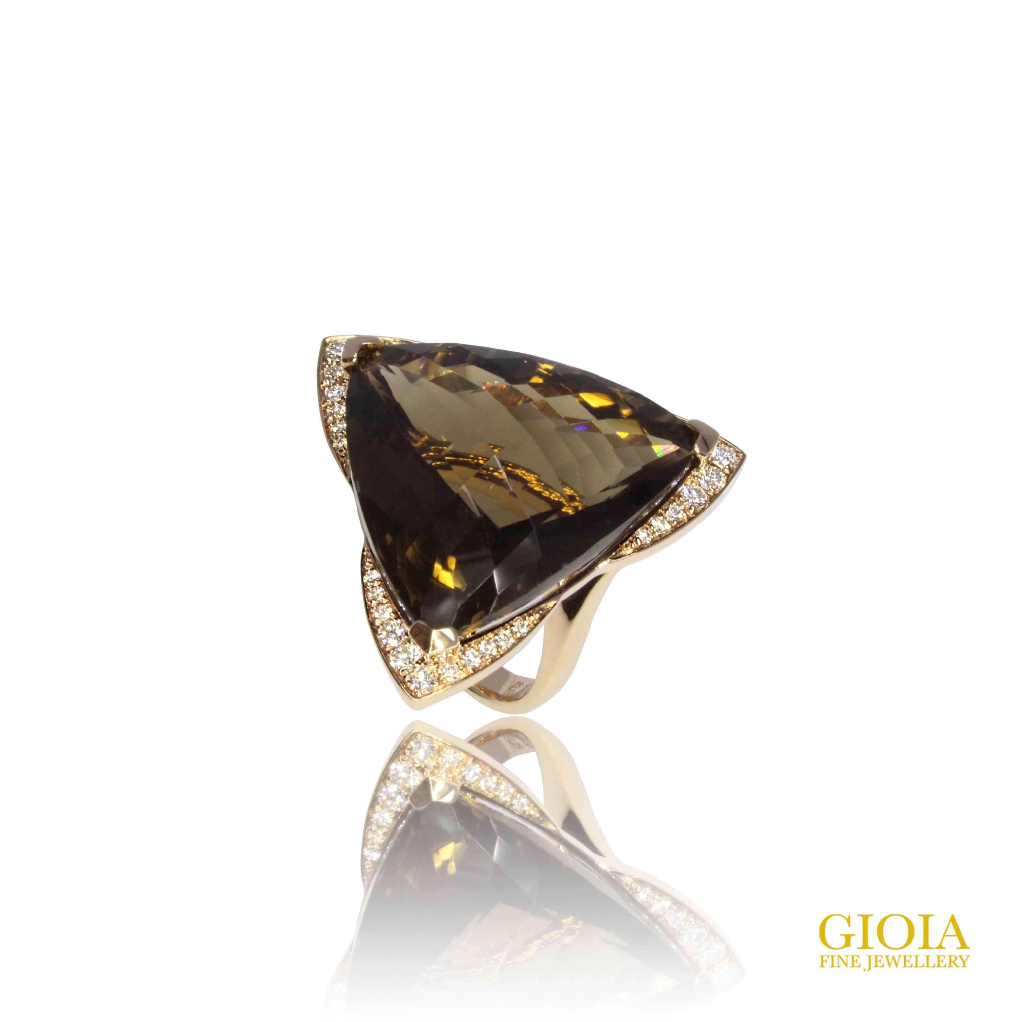 Smoky Quartz with diamond ring