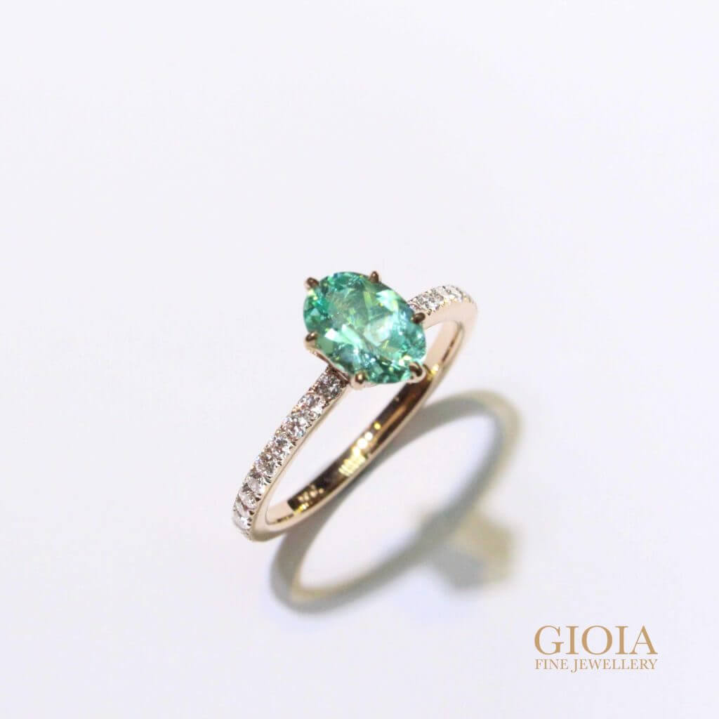 custom made Paraiba tourmaline engagement ring