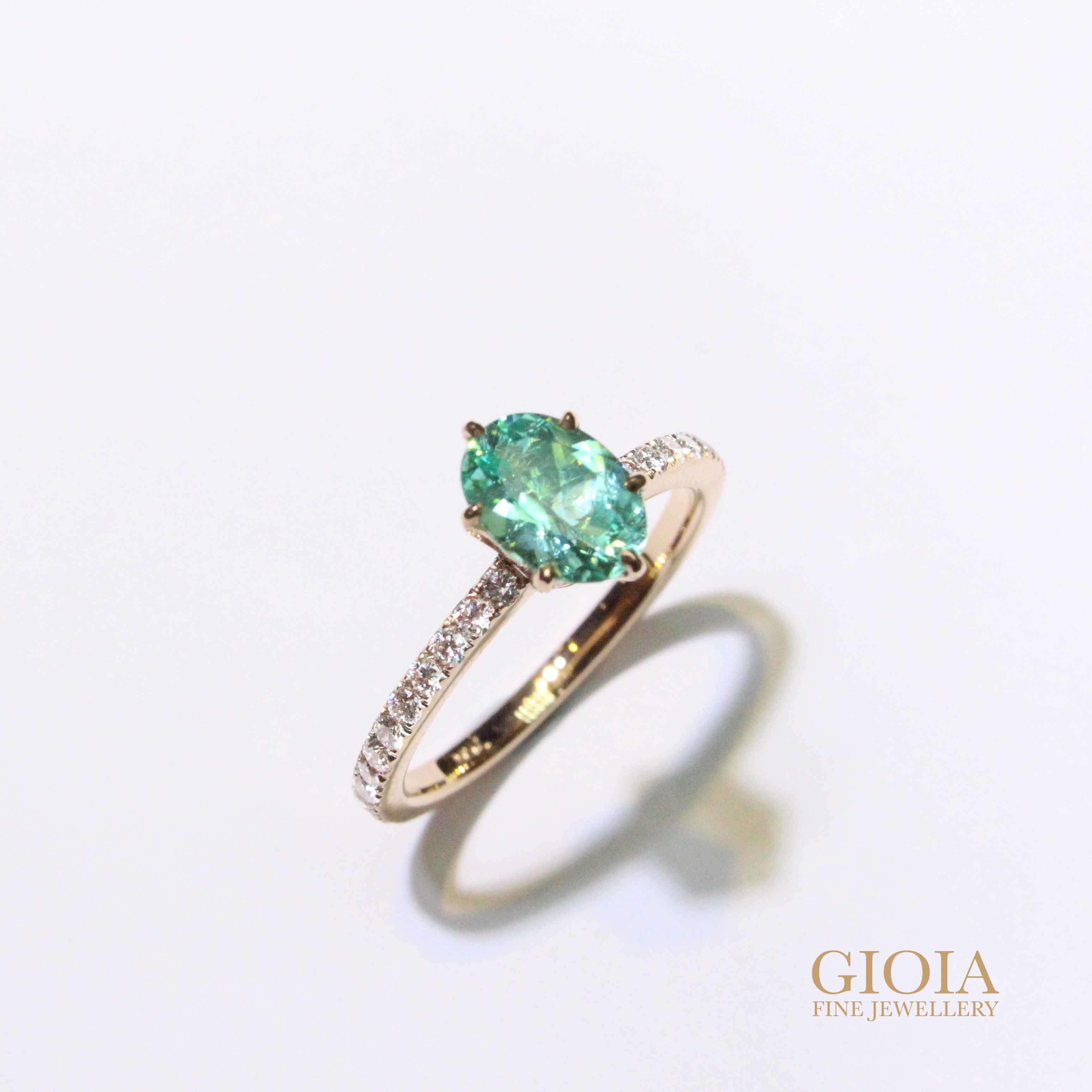 custom made Paraiba tourmaline engagement ring