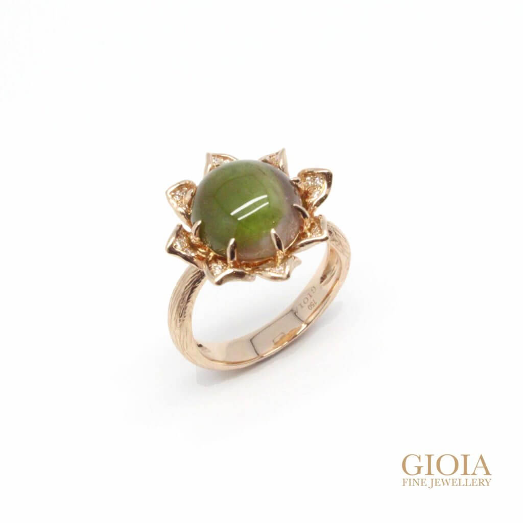 Bi-colour tourmaline cats eye ring