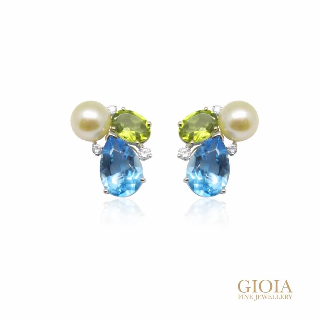 Custom made Gemstone and pearl Earring | Customised Jewellery in Singapore