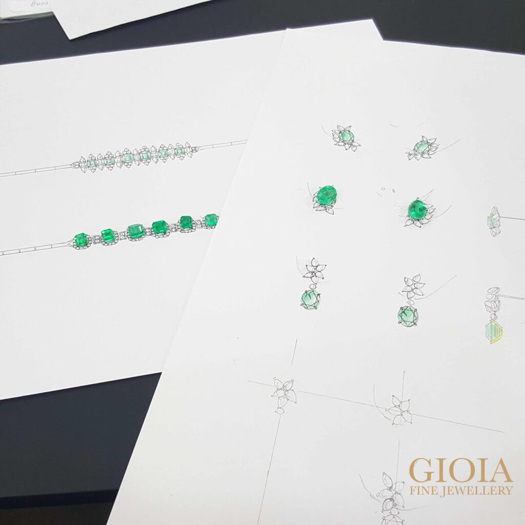 Customised emerald bracelet and earring