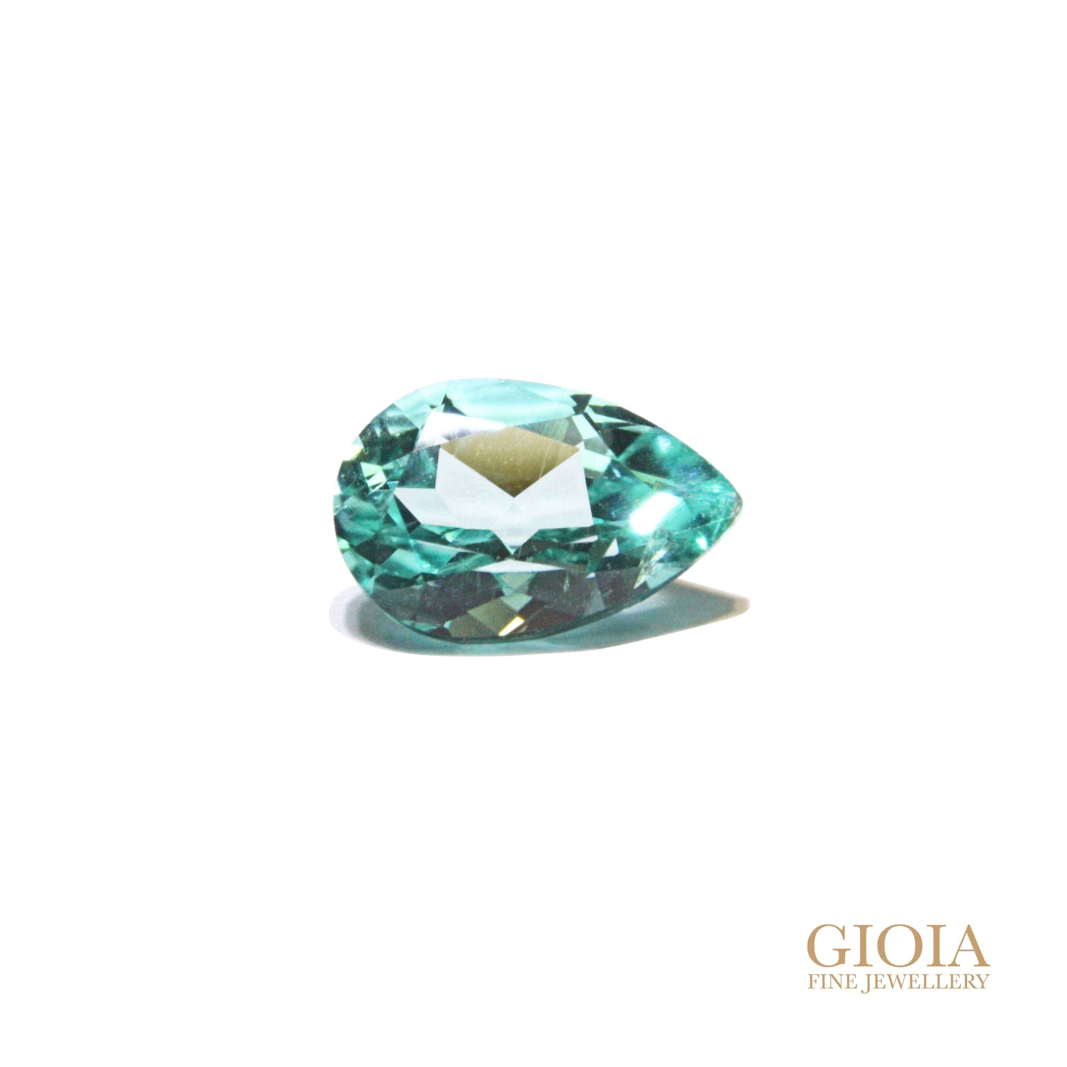 Pear Paraiba Tourmaline Gemstone | Customised engagement ring | Local Singapore Jeweller