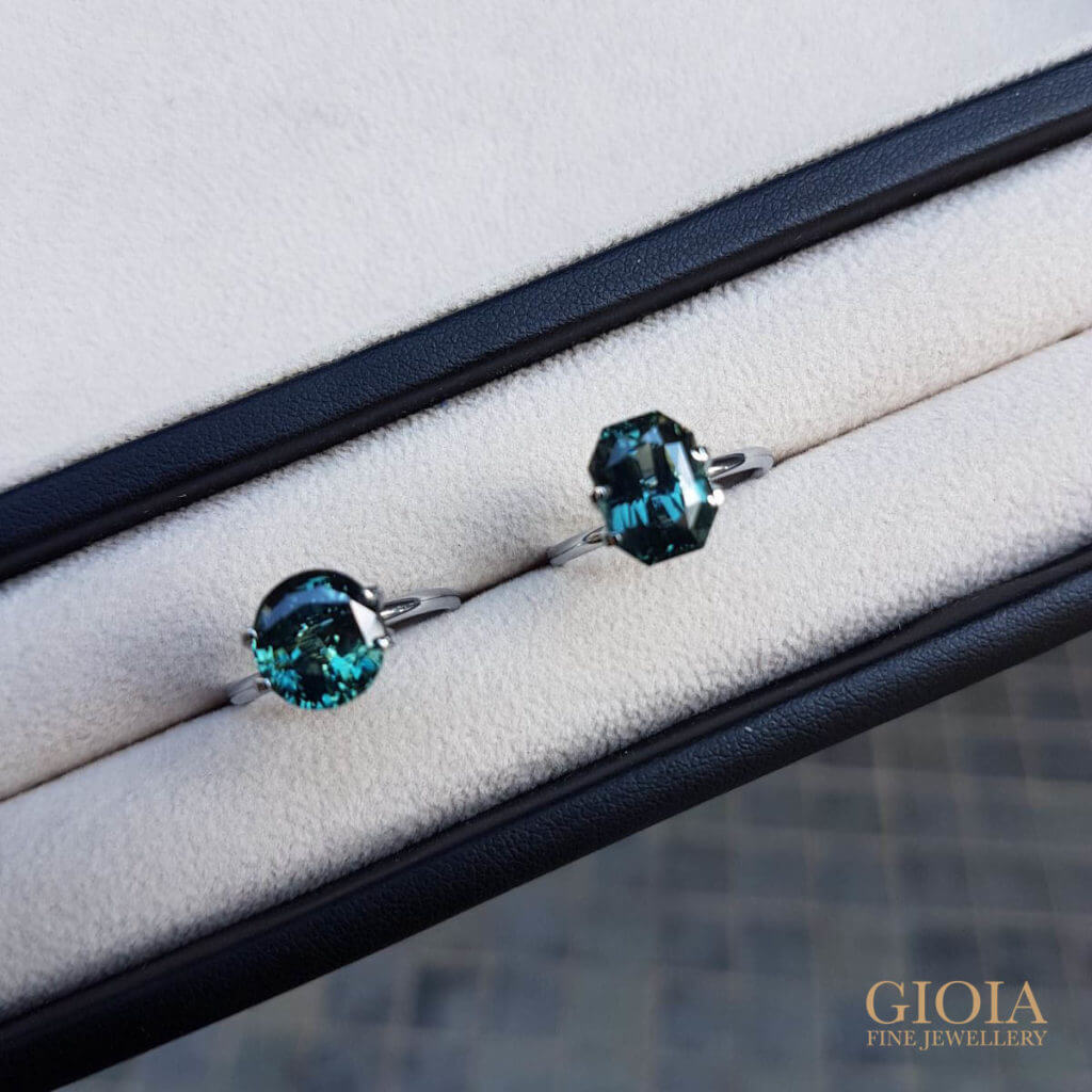 Green Blue Sapphire Gemstone | Rare coloured gemstone for wedding proposal ring - customised engagement ring | Local Singapore Jeweller