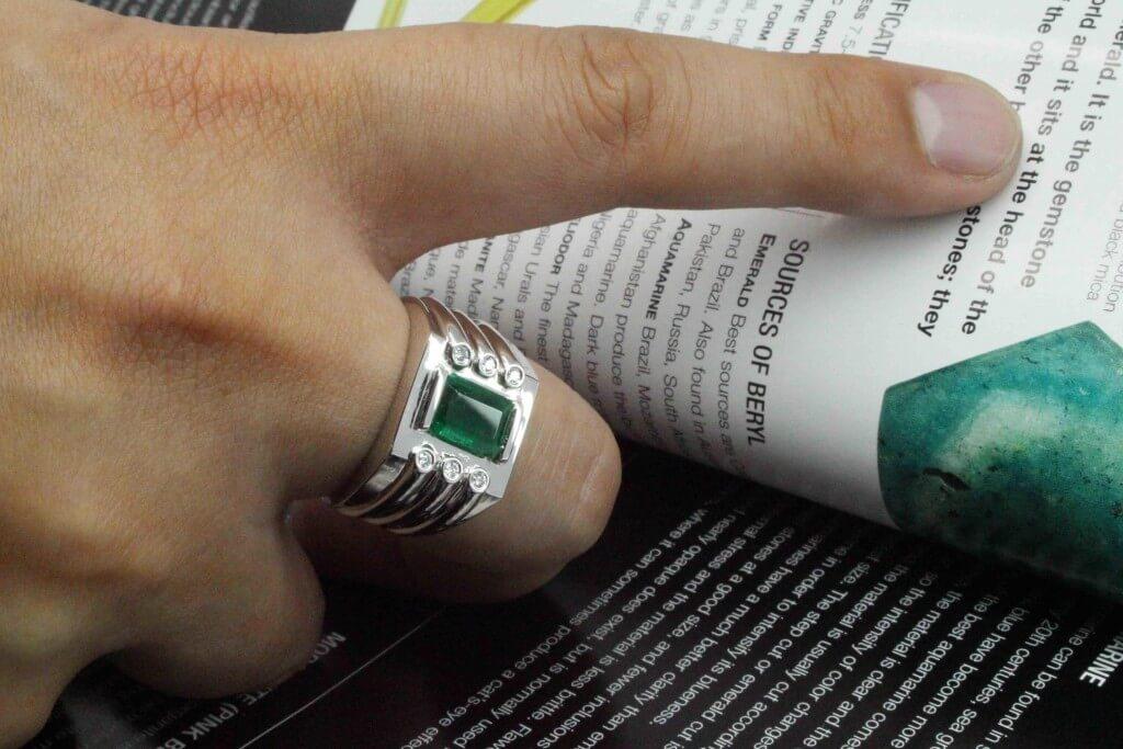 customised emerald mens ring | Bespoke custom made local Singapore Jeweller