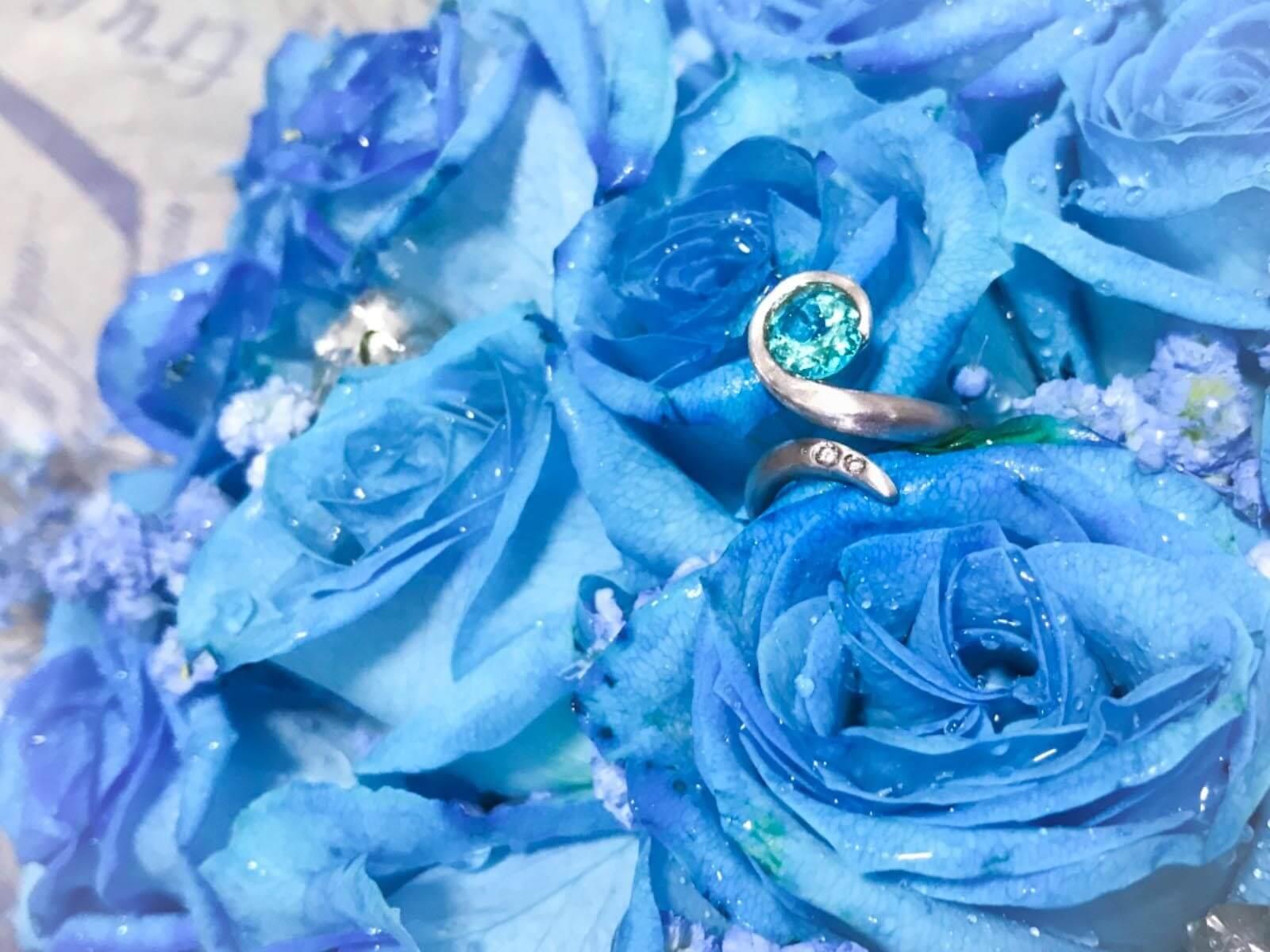 wedding proposal with custom made paraiba tourmaline ring