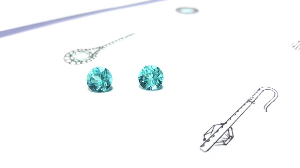 Custom made Paraiba Earring - unique fine jewellery with Paraiba Tourmaline | Local Singapore Customised Jeweller