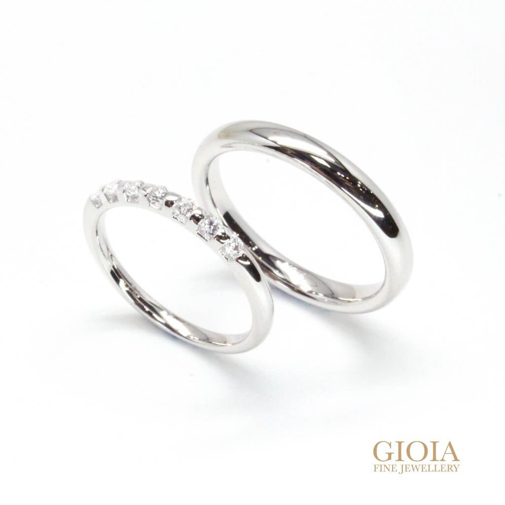 Personalised white gold wedding bands with diamond | Local Customised Wedding Bands
