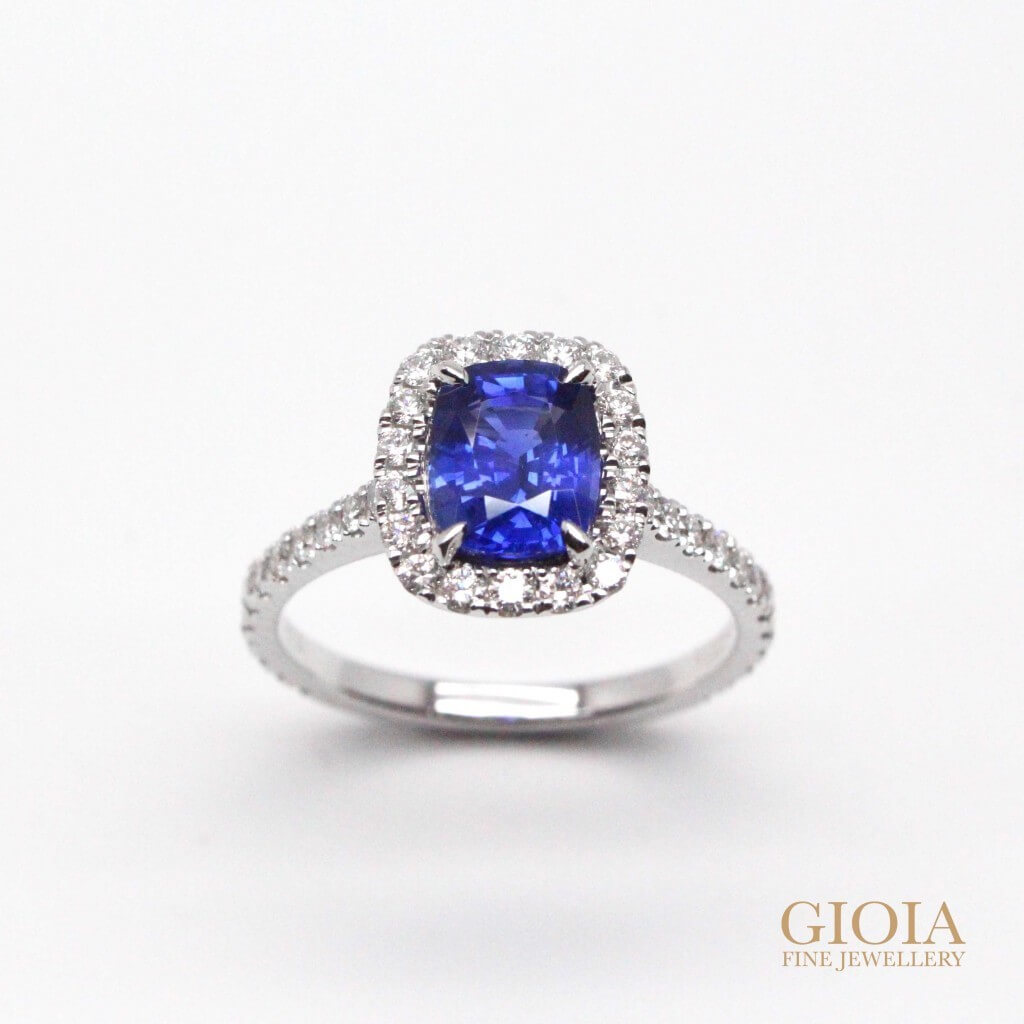 Halo Blue Sapphire Ring | Unique halo diamond setting with blue sapphire | Personalised jewellery - Local Customized Jeweler in Singapore