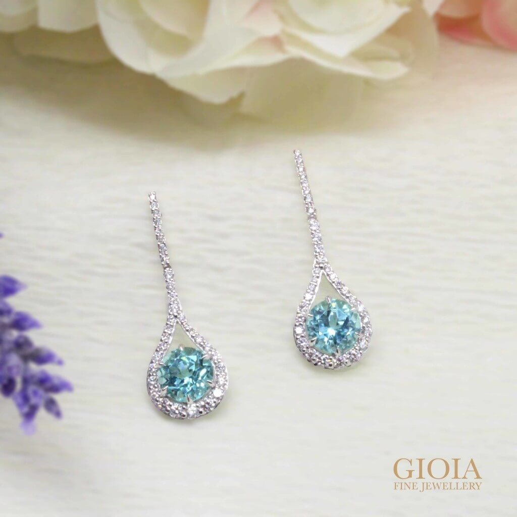 Paraiba Tourmaline Earring Dangles | customized paraiba with round brilliant diamond | custom jeweler