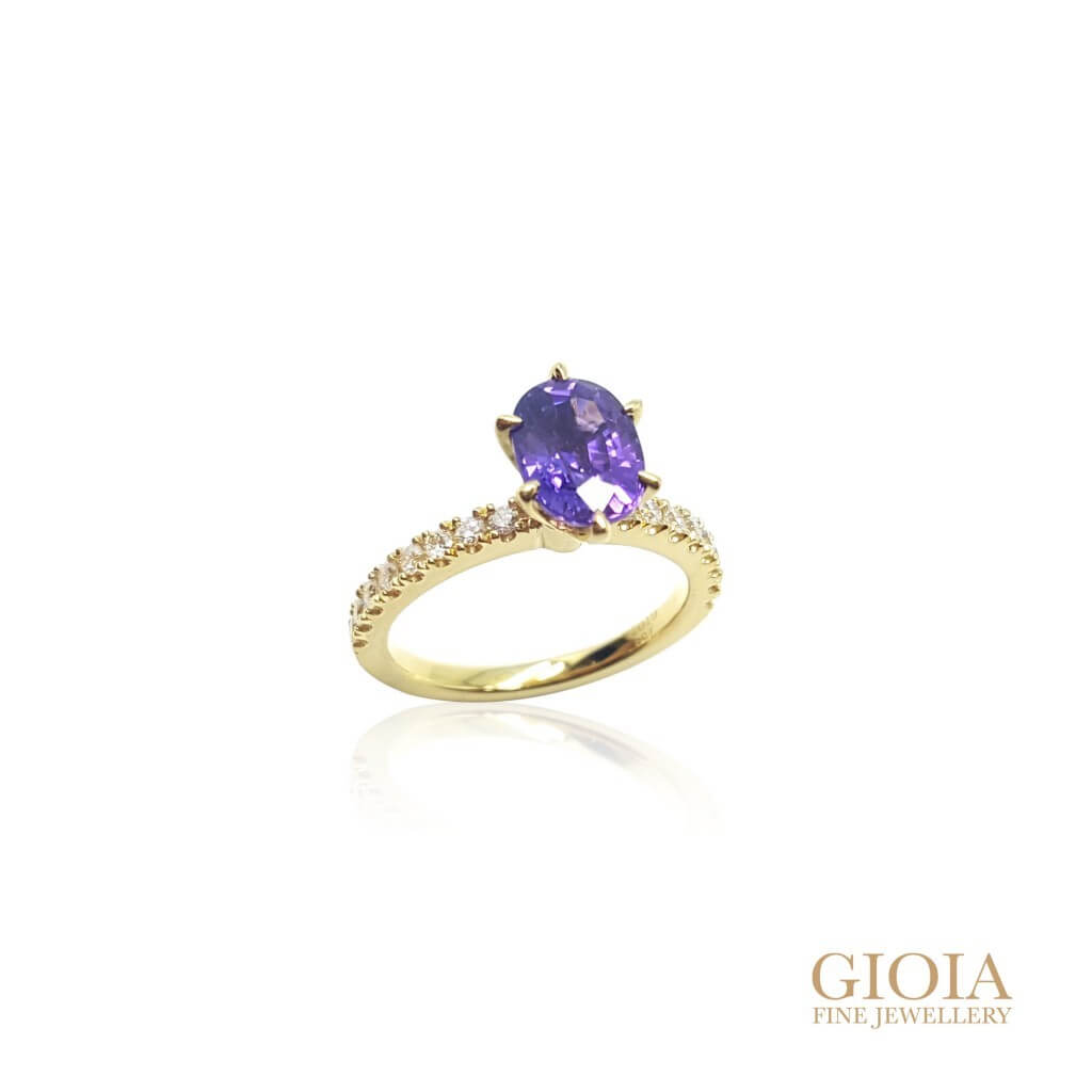 Purple Sapphire Ring - custom made with round diamond, six prong setting | Local Singapore customized Jeweller