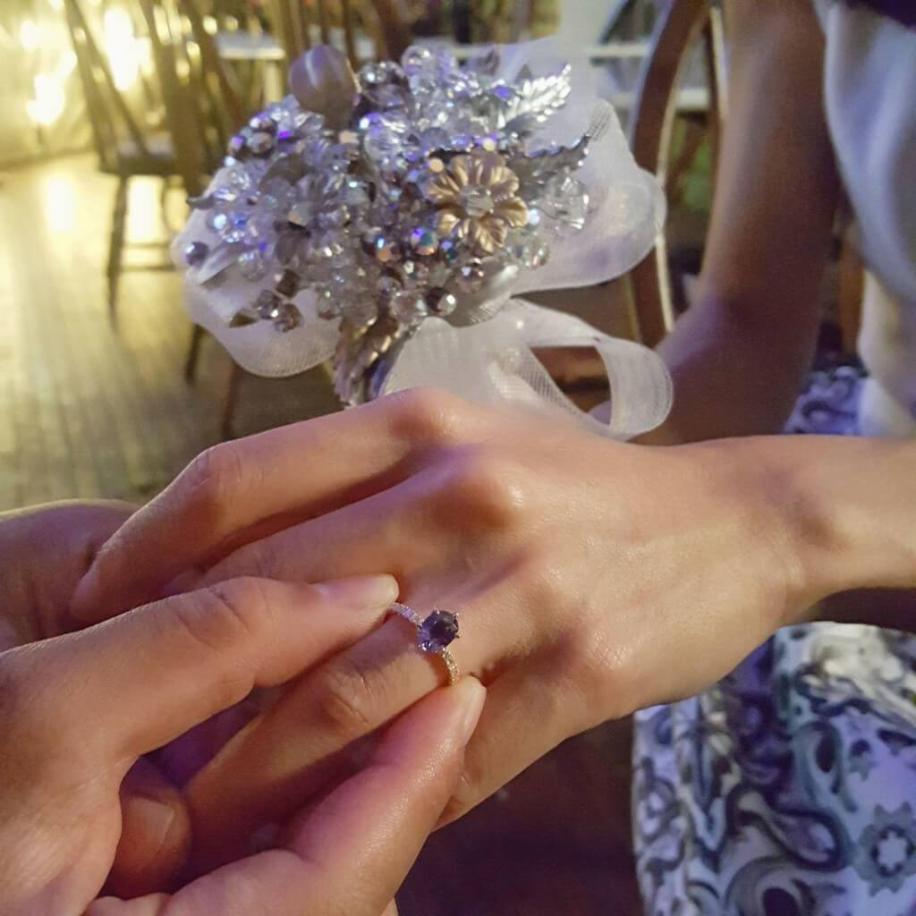 Purple Sapphire customized Proposal Ring