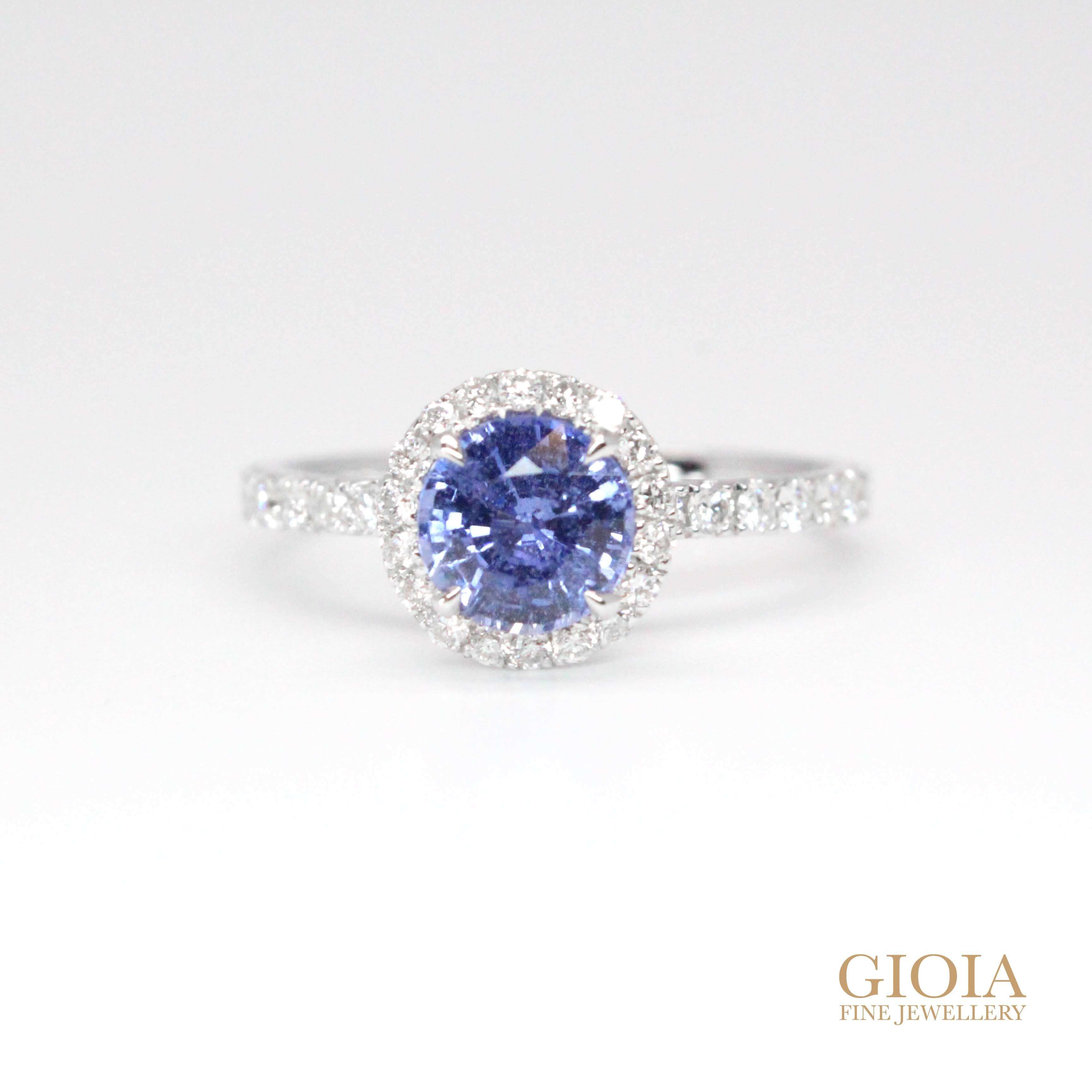 Sapphire proposal ring | unique halo round sapphire ring | Local Singapore Custom made jeweller