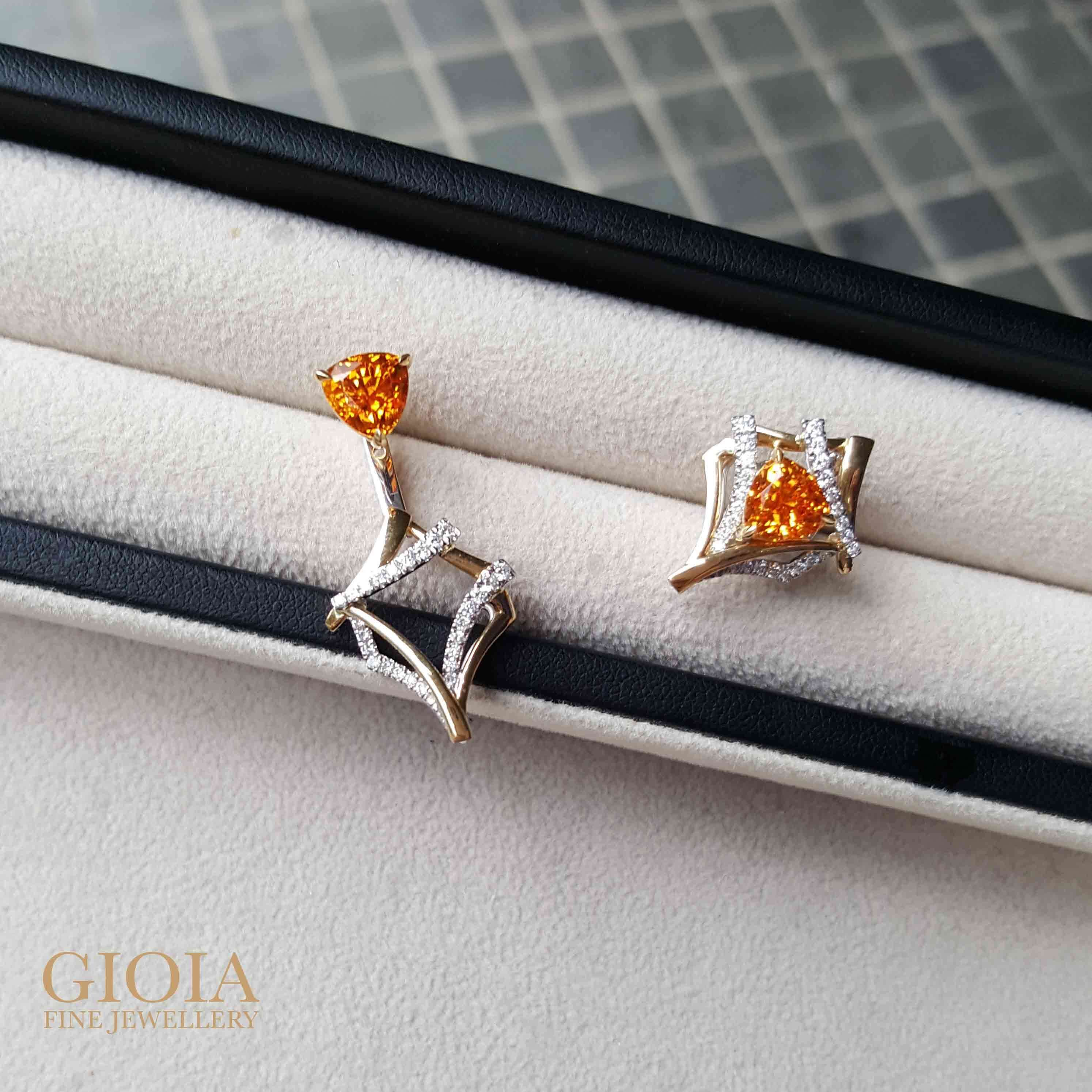 Unique Mandarin Garnet Earring - personalised jewellery, custom made for multiple wear