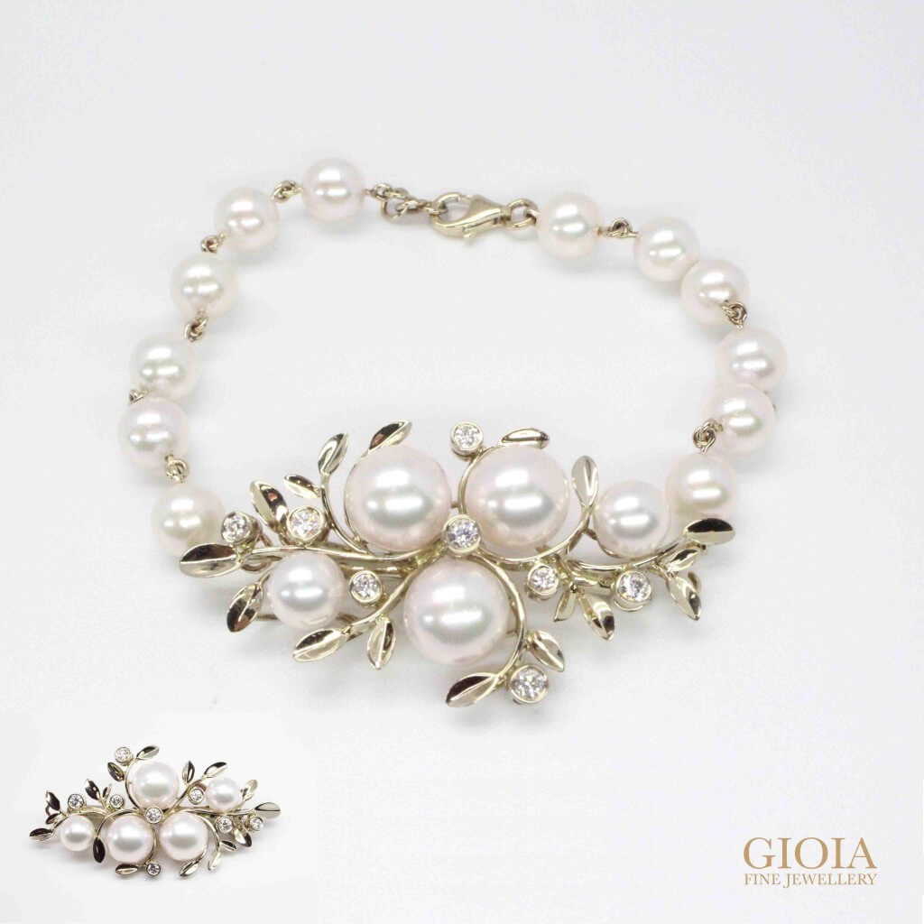 Flora Pearl Diamond Bracelet/Brooch - Akoya Pearl custom made with natural white gold - Unique Pearl Jewellery | GIOIA Fine Jewellery