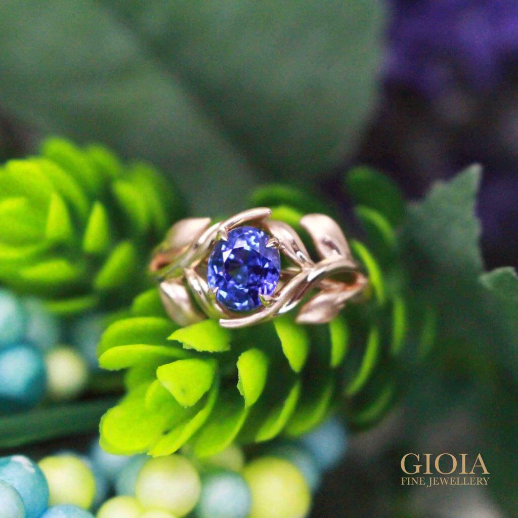 Flora Blue Sapphire Ring - Customised Engagement Ring for wedding proposal | Local Singapore bespoke Jeweller