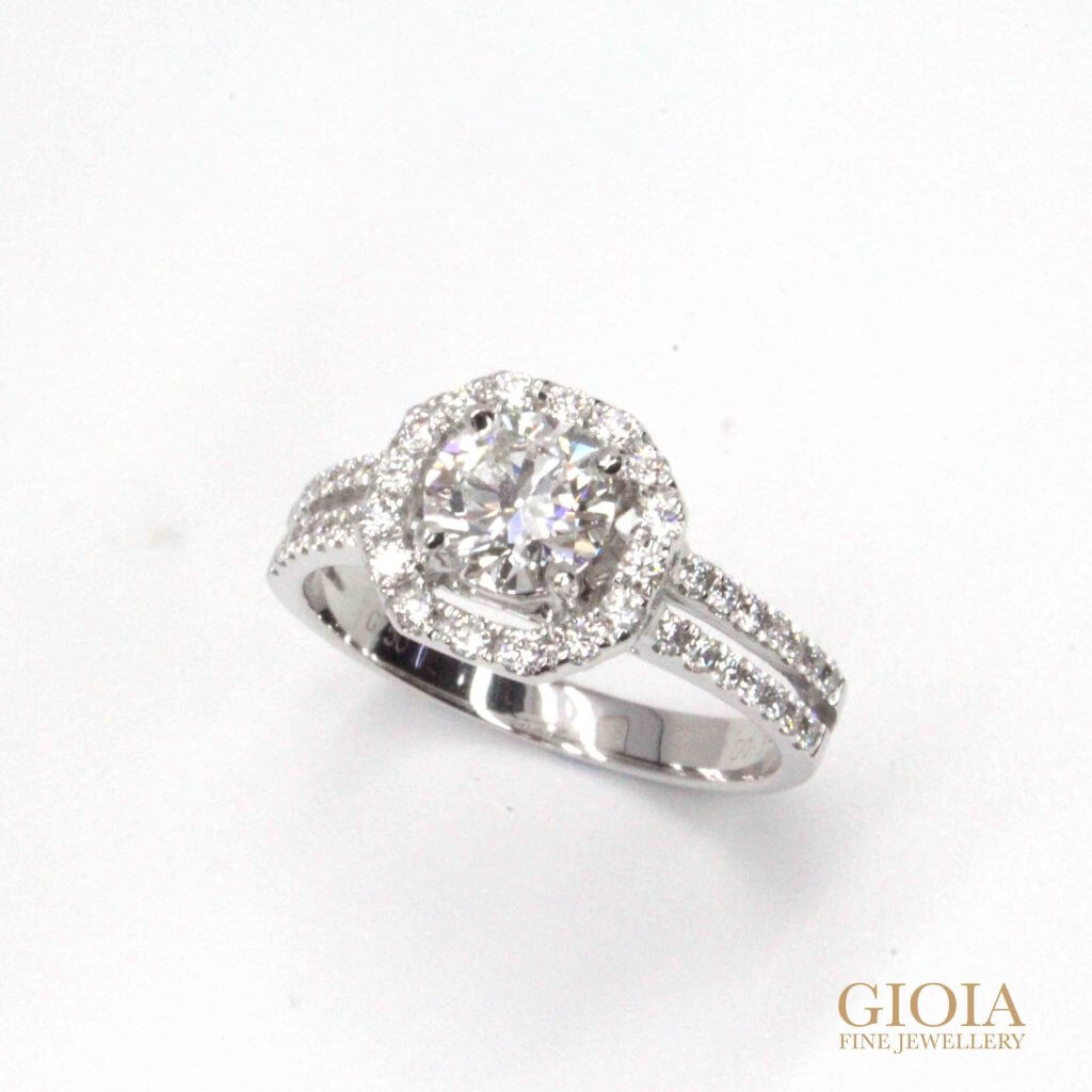 Halo Diamond Wedding Ring - round brilliant diamond with halo setting | Local custom made Jeweller