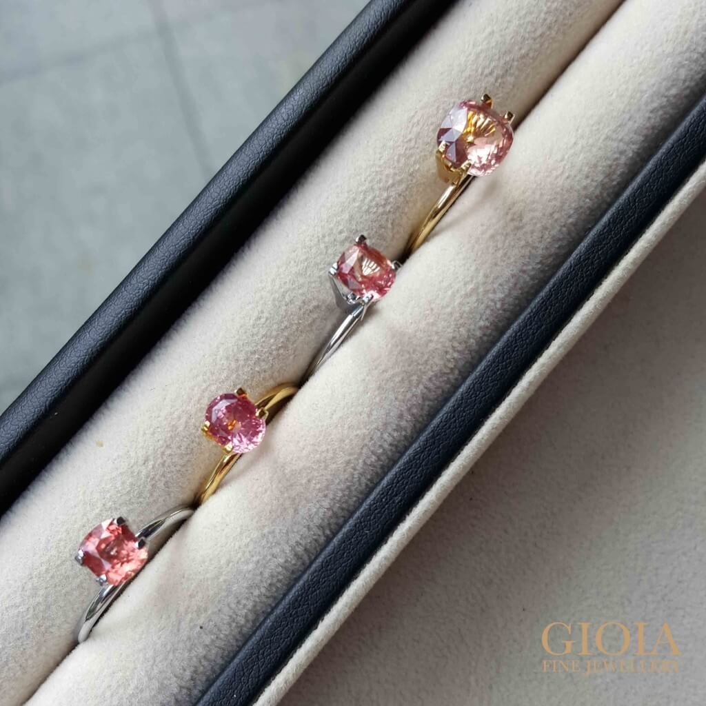 Padparadscha Gemstone - Rarest of all sapphire. Pink Orange colour shade - Customised Proposal Ring for Wedding Engagement | Local Singapore Custom made Jeweler