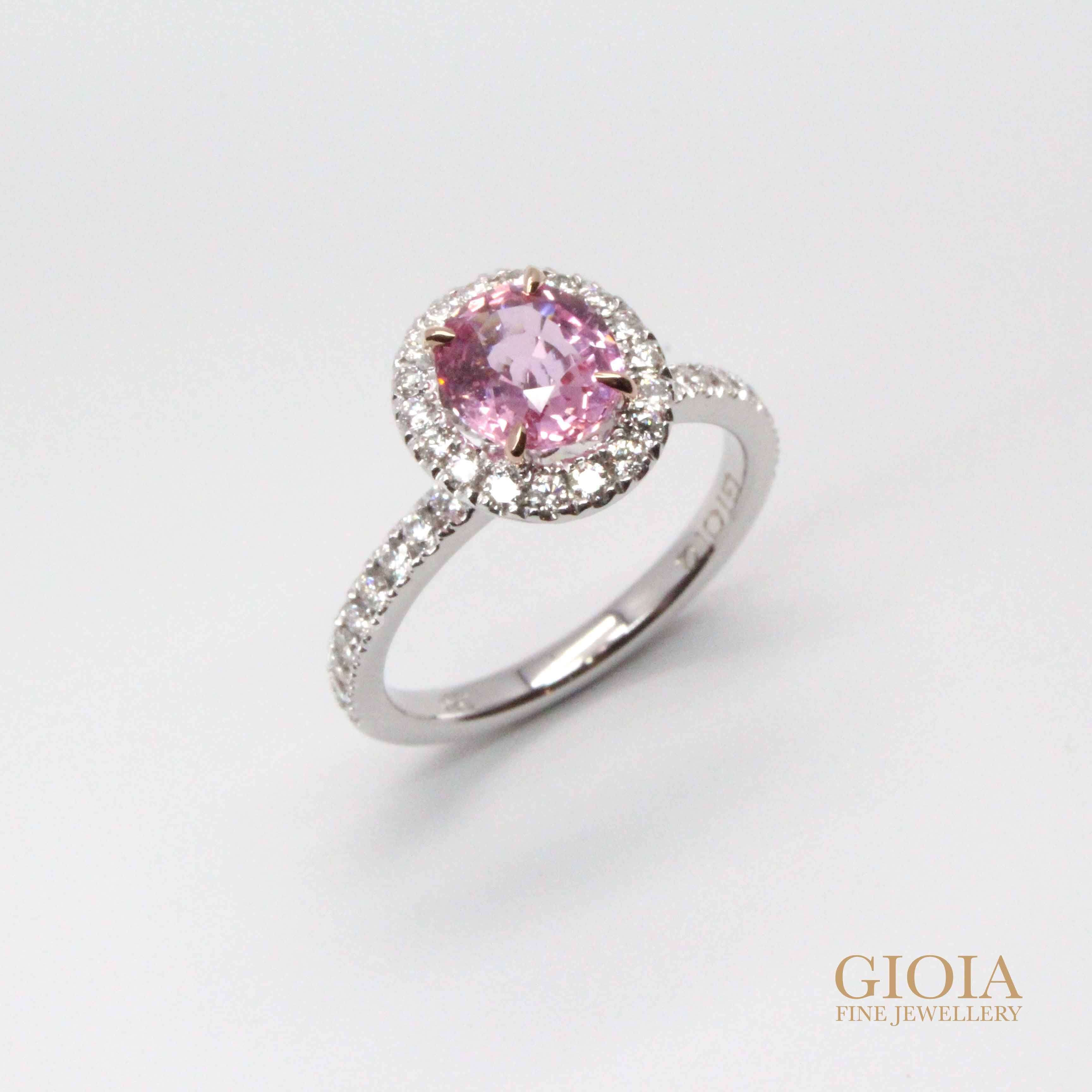 Padparadscha Sapphire Unique halo solitaire Ring - Sapphire gemstone engagement ring | Local Singapore Custom made Jewellery