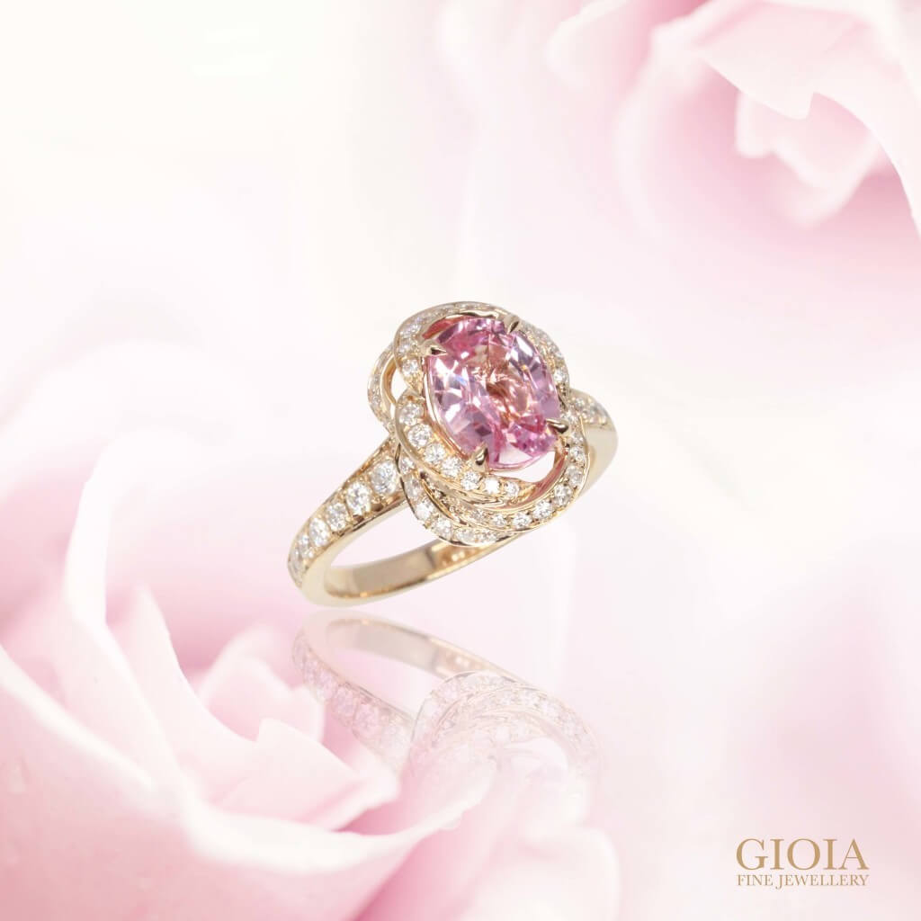 Padparadscha Sapphire Unique Ring - Sapphire gemstone rose engagement ring |  Local Singapore Custom made Jewellery