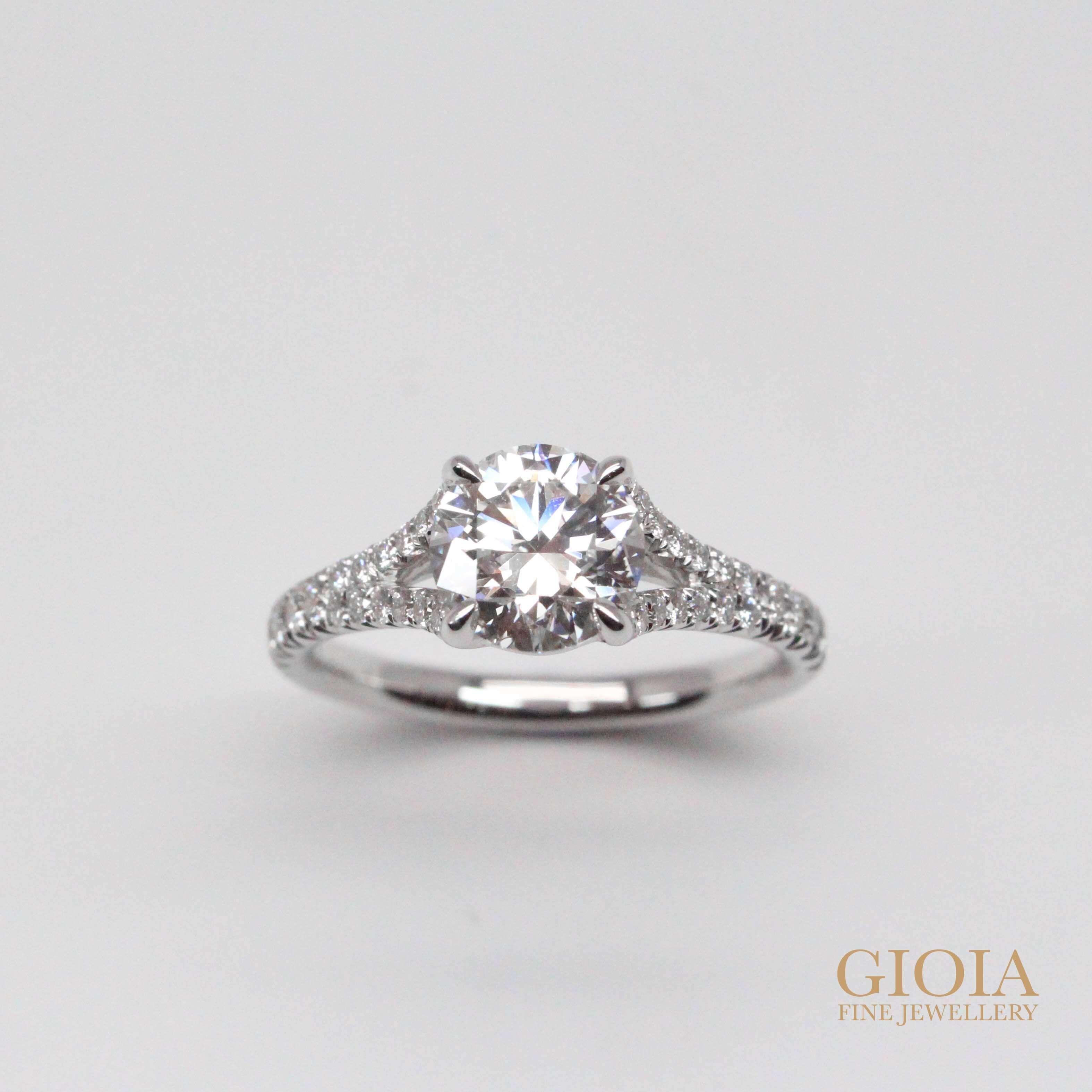 Unique Diamond Proposal Ring - Round brilliant ideal diamond with unique solitaire design | Local Customised Jeweller