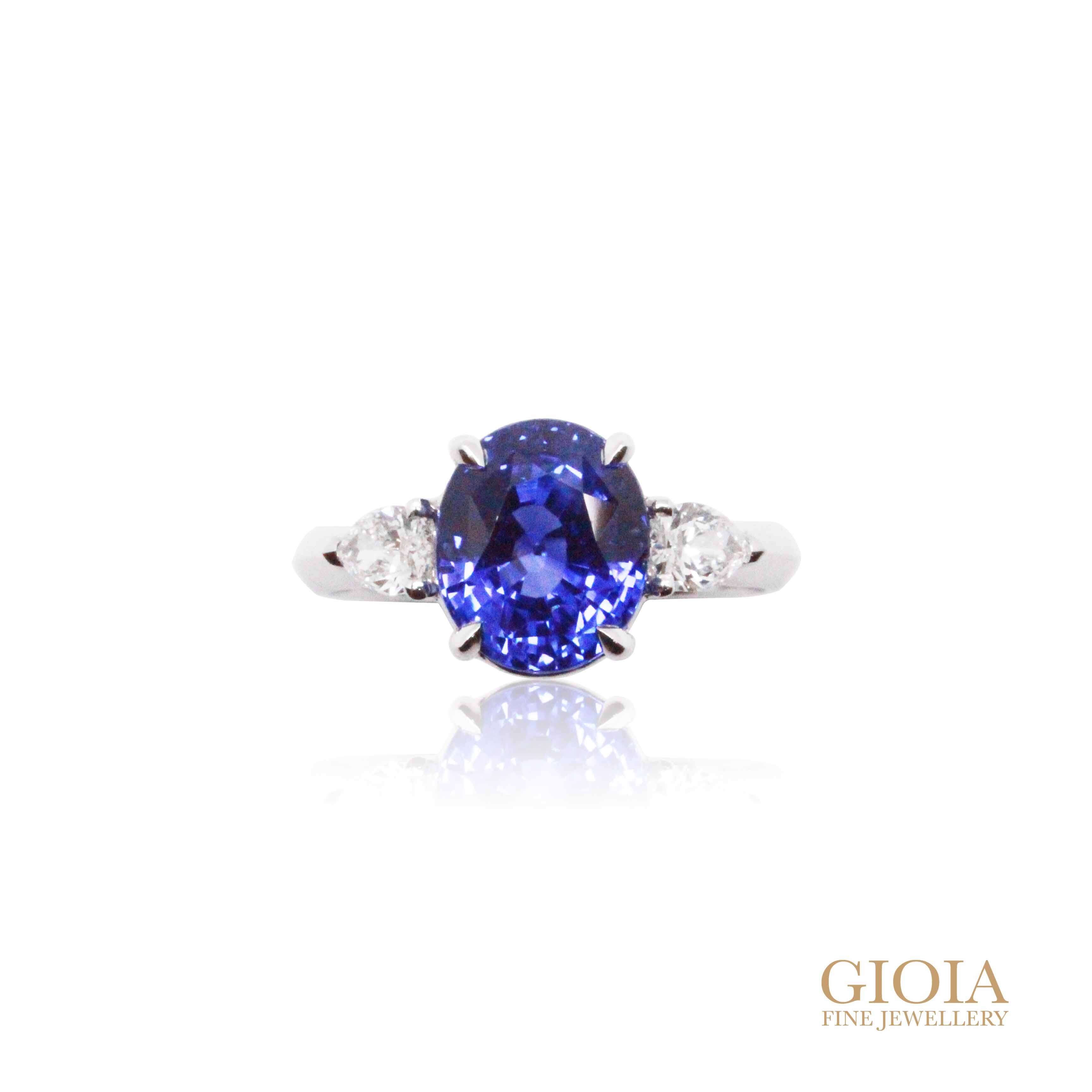 Blue Sapphire Proposal Ring - Unheated Sapphire with Pear shaped Diamond GIOIA Fine Jewellery
