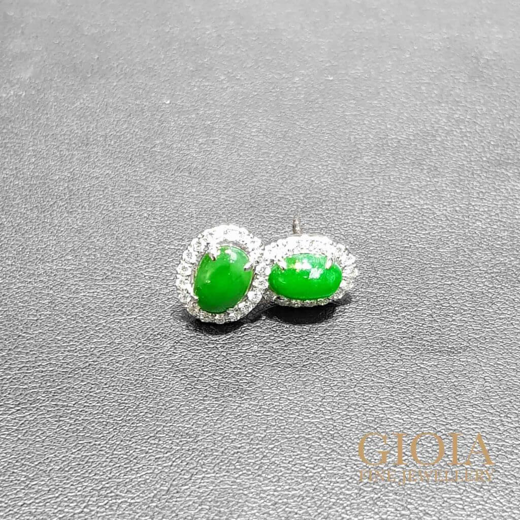 Green Jade Earring Stud - Custom made Jeweller, customised jade with brilliant round diamonds | Bespoke Jeweller