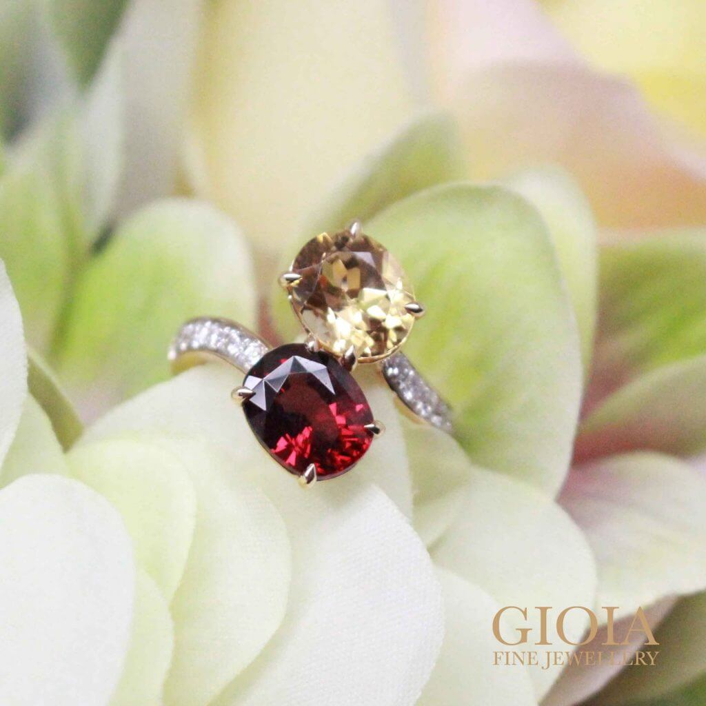Red Garnet and imperial Topaz - Unique Wedding Ring | Local Singapore customised jeweler for wedding engagement ring