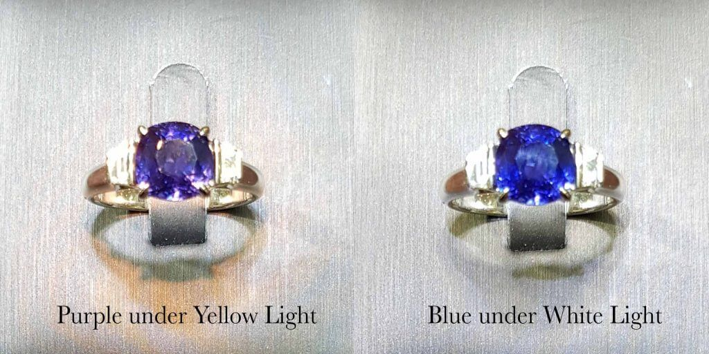 Colour Change Sapphire Gemstone - colour change from purple to blue and blue to purple