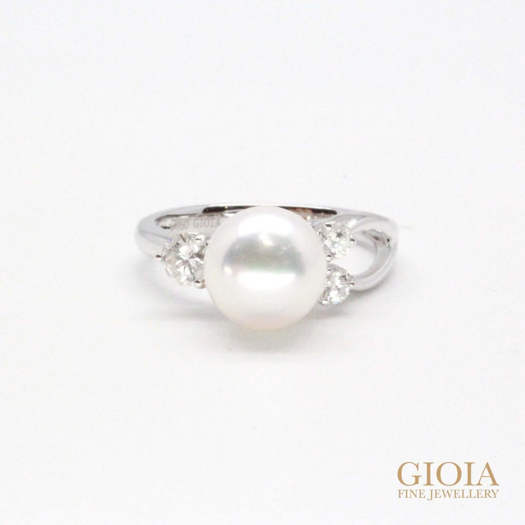 Pearl engagement ring with diamond | Unique one of a kind proposal ring