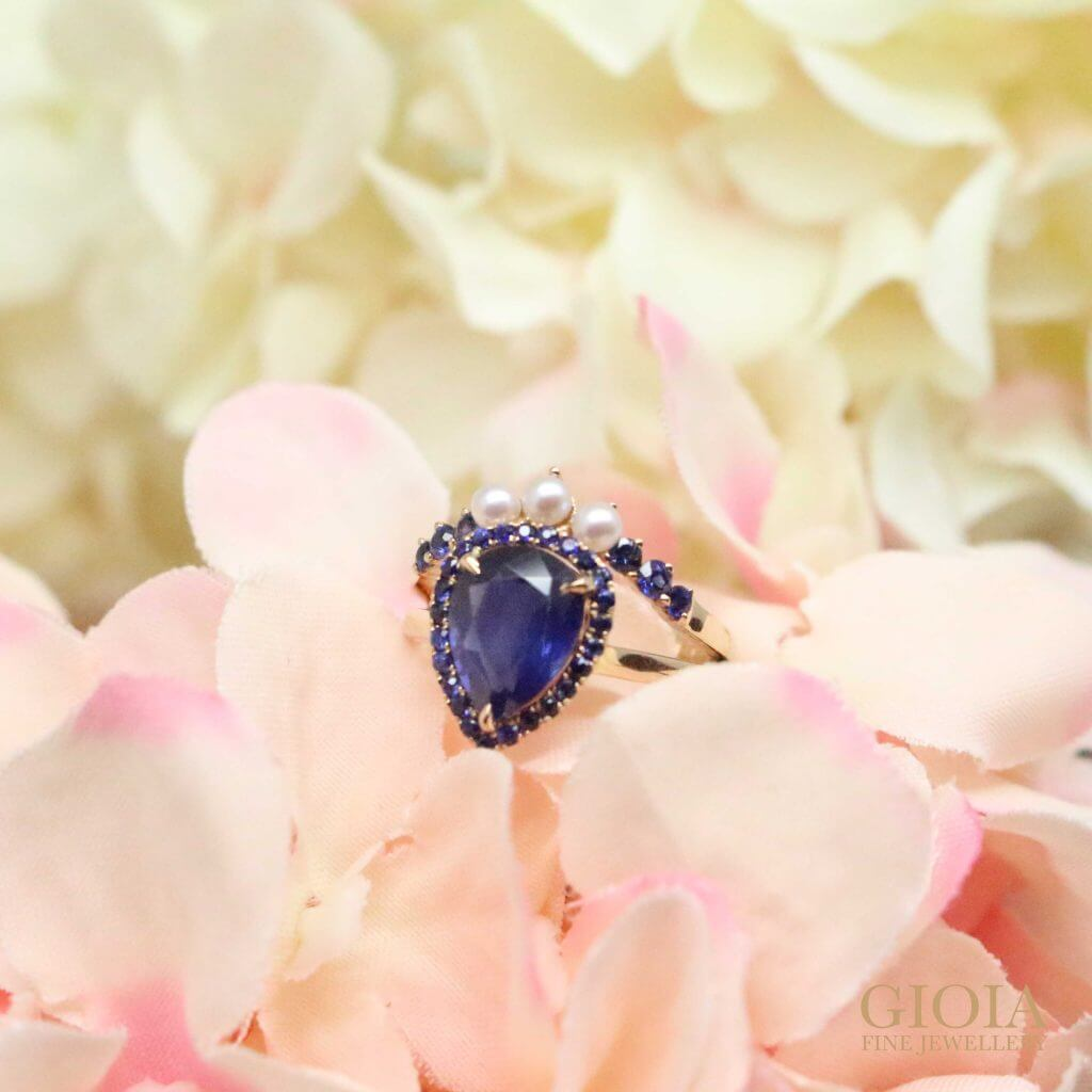 custom made wedding engagement ring with blue sapphire and pearls. Local Singapore Trusted Customised Jeweller
