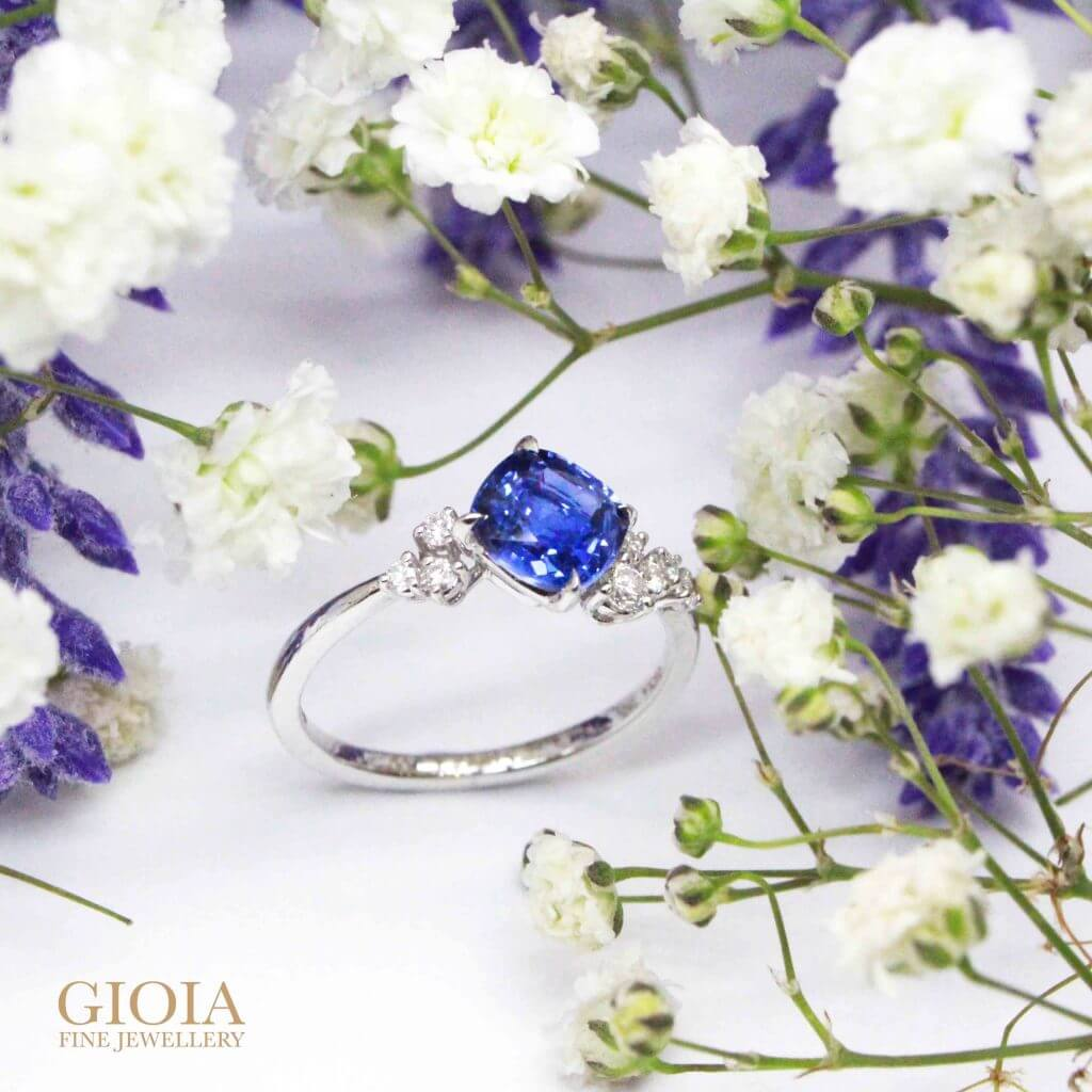 Sapphire Diamond Engagement Ring - Customised Engagement ring with blue sapphire ring | Singapore Local Trusted bespoke Jeweller