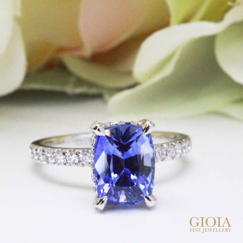 Blue Sapphire Diamond Wedding Ring - Custom made Wedding Ring | Local Singapore Custom made Jeweller