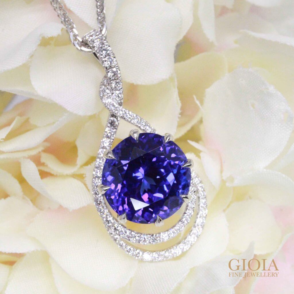 Heated Tanzanite and Diamond Studded Pendant in White Gold | Local Singapore Trusted Customised Jeweller