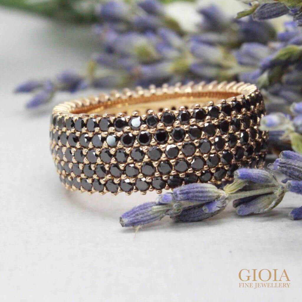 Black diamond ring with multiple round brilliant diamond around the rose gold bands | Local Singapore Trusted Custom made Jeweller