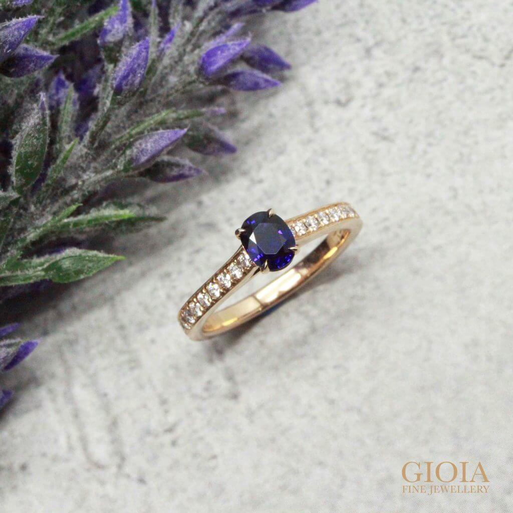 Customised Wedding Ring for a unique proposal with Burma blue sapphire gemstone. Custom made with round brilliant diamonds | Local Singapore Trusted Customised Jeweler